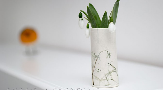 Snowdrop and handmade vase
