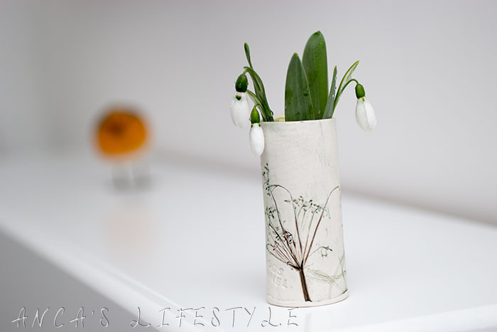 05 snowdrop and handmade vase