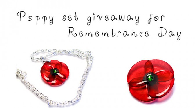 Poppy for Remembrance Day, handmade jewellery in UK