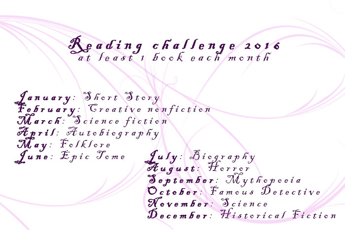 Monthly Reading challenge 2016