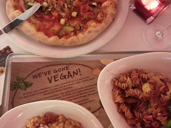 Vegan menu at Vapiano