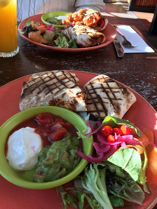 Las Iguanas vegetarian burritos
