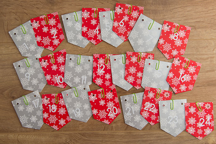 All the cards ready to go on the string