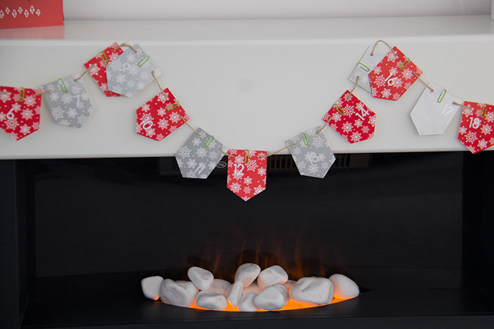 Fireplace with advent calendar bunting