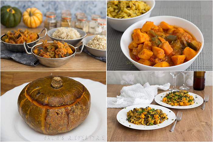 Autumnal recipes: Mains. Collage with four pictures of mains