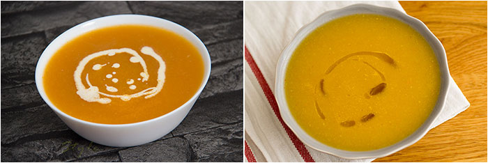 Autumnal recipes: Soups. Two bowls of soup