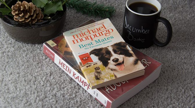 December Books. Two books, a cup of coffee