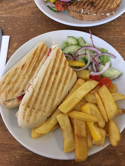 Panini with chips and salad
