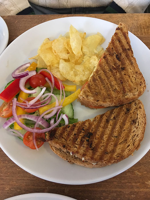Toastie with crisps and salad
