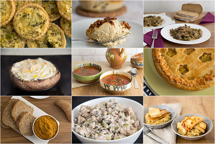 Vegetarian Christmas Meal Ideas. Collage of 9 dishes