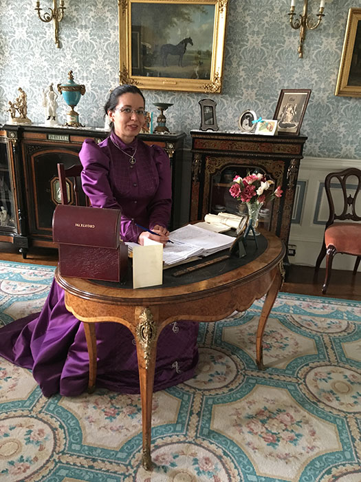 Volunteering at Victorian Christmas, as Lady Sefton, at my desk