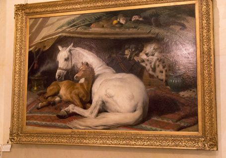 Painting with horses in the hall at Wallace Collection