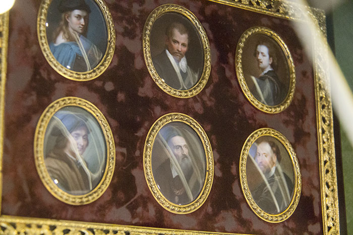 Miniatures of painters. Raphael, Annibale Carracci, Van Dyck, Andrea del Sarto, Titian, and Rubens