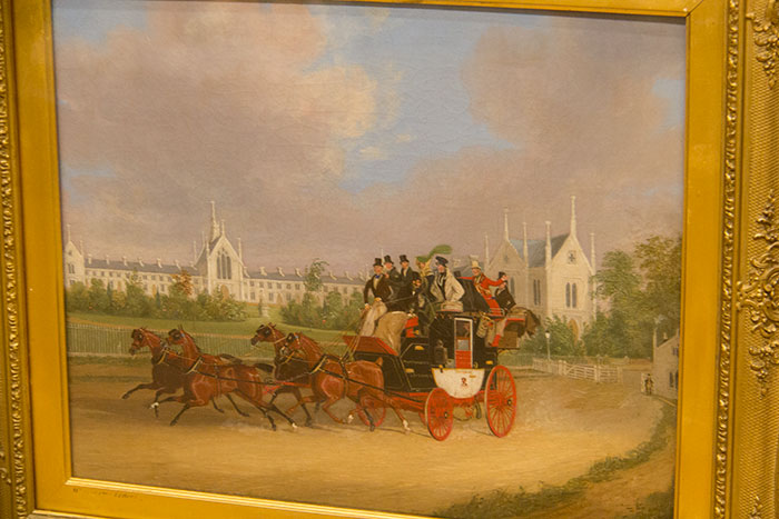 The Tally-Ho London - Birmingham Stage Coach Passing Whittington College