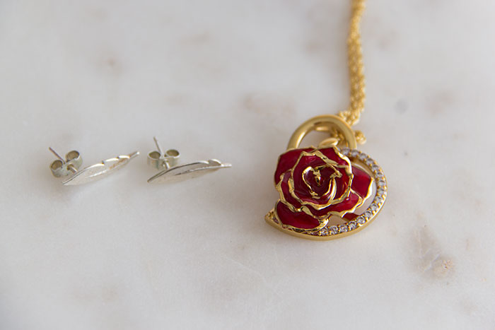 My favourite pieces of jewellery - feather and rose