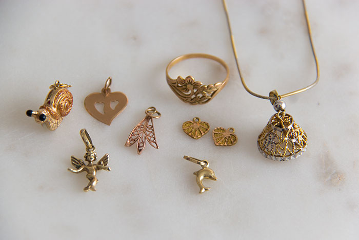 My favourite pieces of jewellery - gold charms