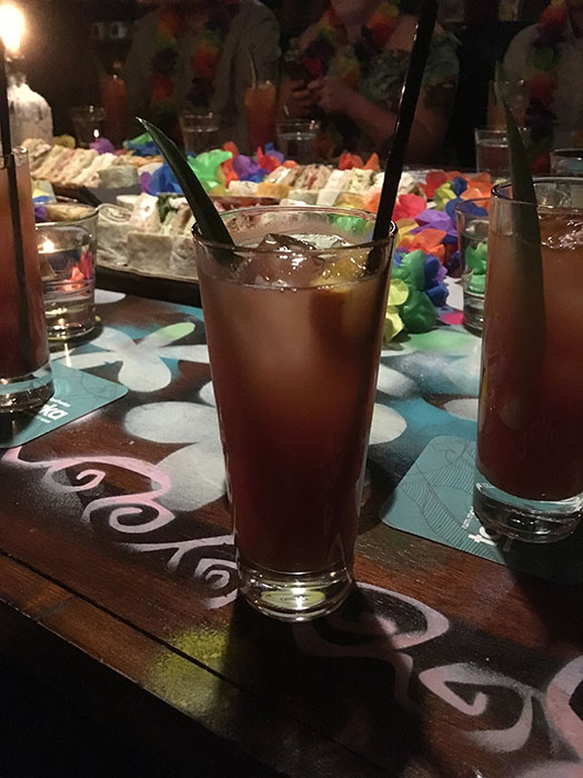 Red cocktails at Aloha