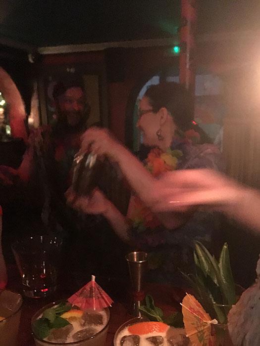 Shaking the cocktails at Aloha bar