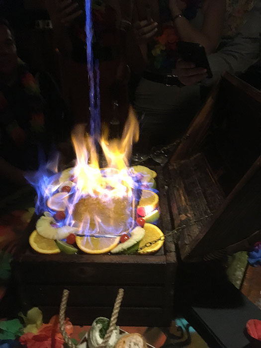 Zombie cocktails at Aloha, in a treasure crate. On fire