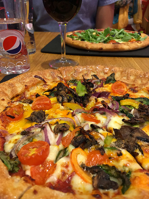 Two vegetarian options at Pizza Hut