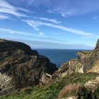Tintagel. The Old Post Office, Cliffs, and Church