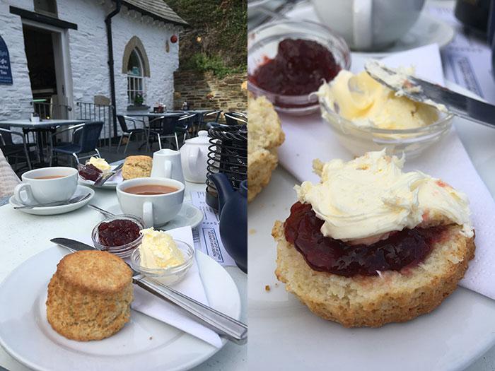 Cornish cream tea at Boscastle The Harbour Light Tea Garden.