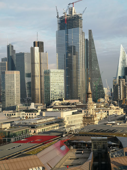 London seen from St Paul's Cathedral. Buildings