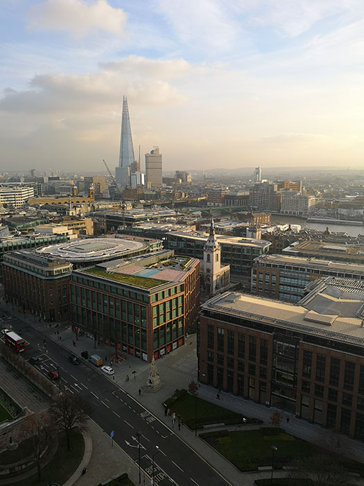 London seen from St Paul's Cathedral. The Shard is in the background