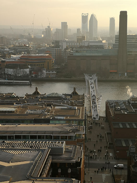 London seen from St Paul's Cathedral. In the background is Tate Modern