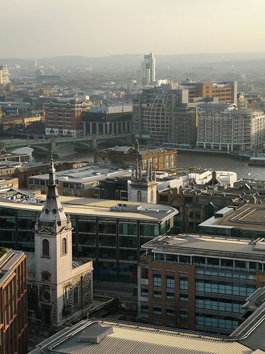 Buildings in London, seen from the viewing point at St Paul's Cathedral