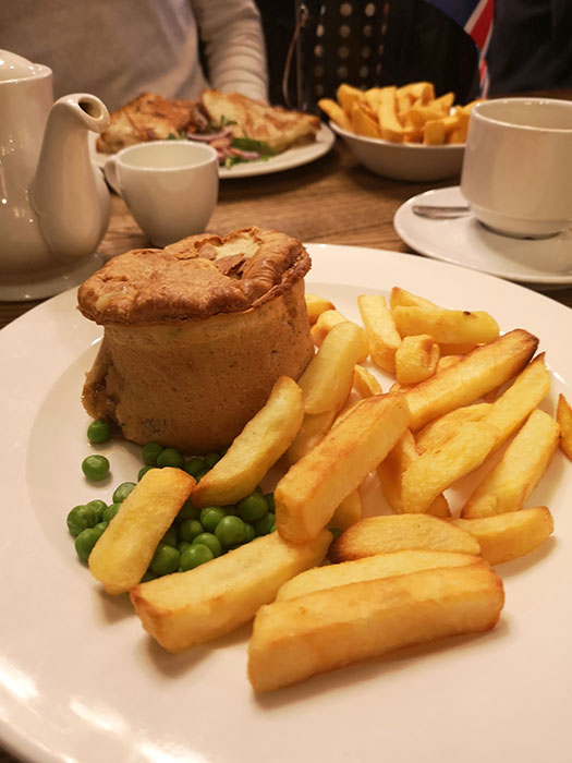 Vegetarian lunch - woodland mushroom and ale pie