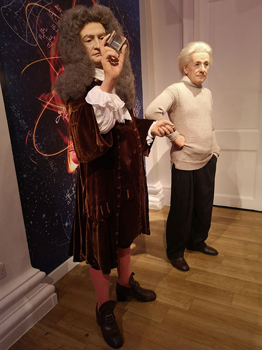 Newton and Einstein at Madame Tussauds
