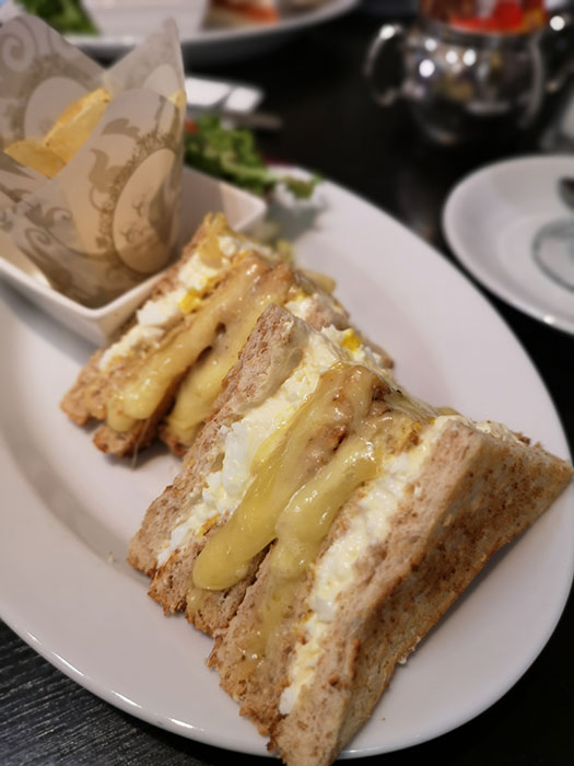 Cafe de Pierre. Egg mayo with Mustard and cheese