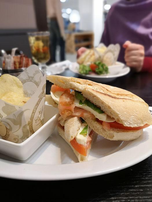 Cafe de Pierre. Mozarella tomato basil ciabatta