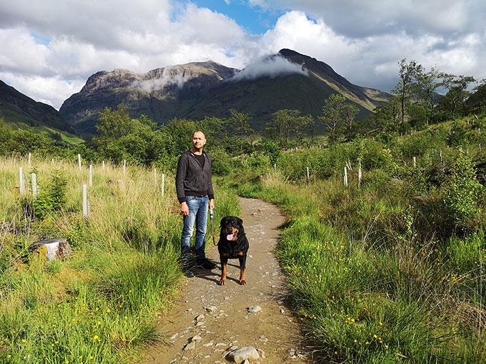 dog and owner at Glencoe
