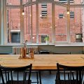 Clink Cafe. Manchester. Table in the cafe