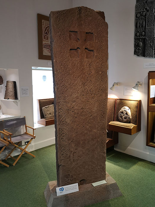 Groam House Museum. Pictish stone on display. Other side