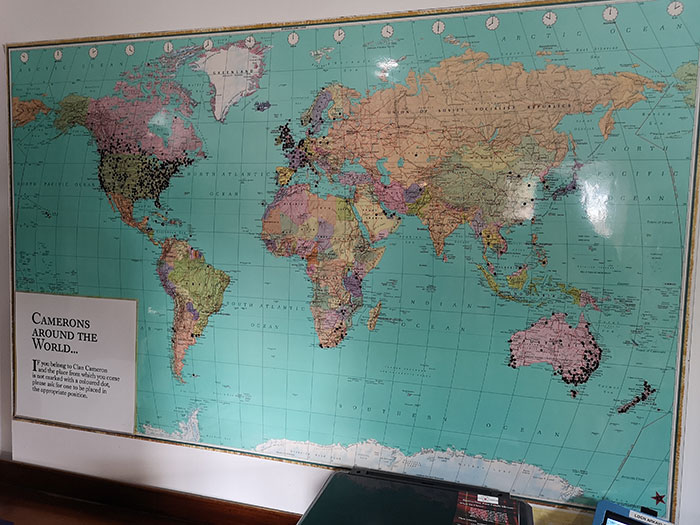 Map of the Clan, spread out in the world. At Clan Cameron Museum