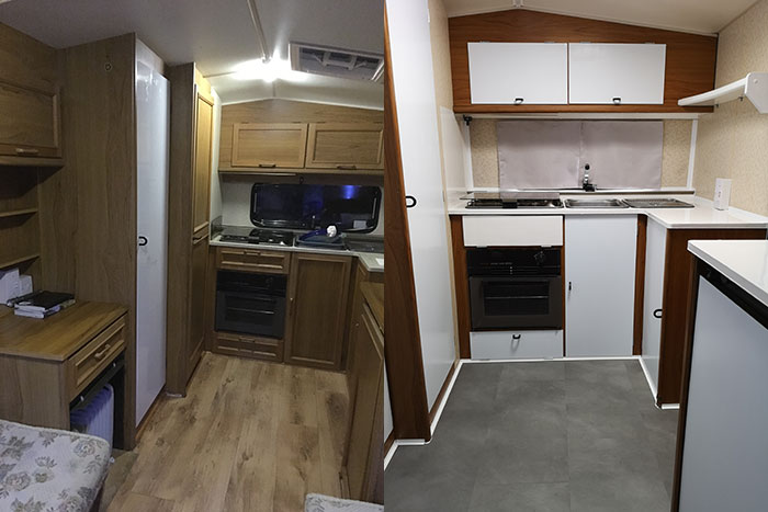 Caravan Renovations. Before and After - Kitchen