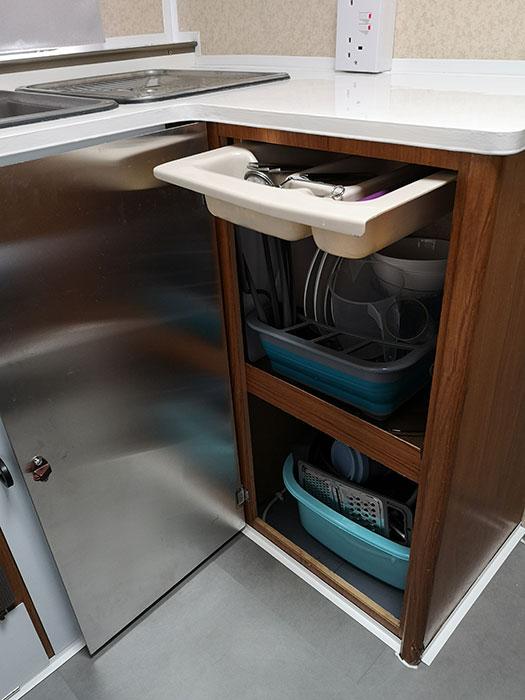Caravan Renovations - Storage for kitchen