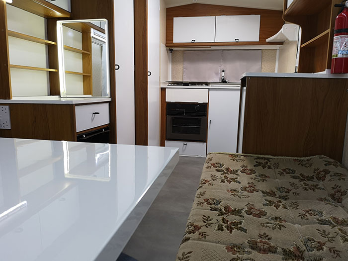 Caravan Renovations, view from the table