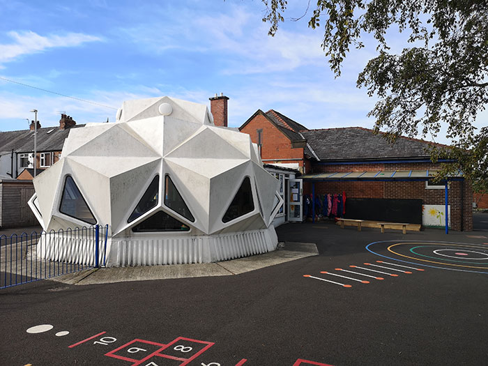 Kennington Primary School is made out of plastic. Picture from outside