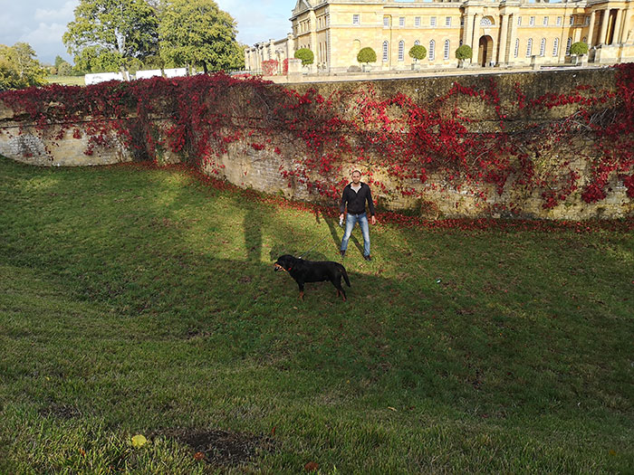 Festus and my husband in the moat