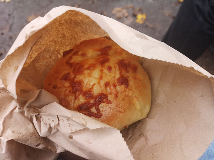 Cheesy bread baked at St Fagans Museum