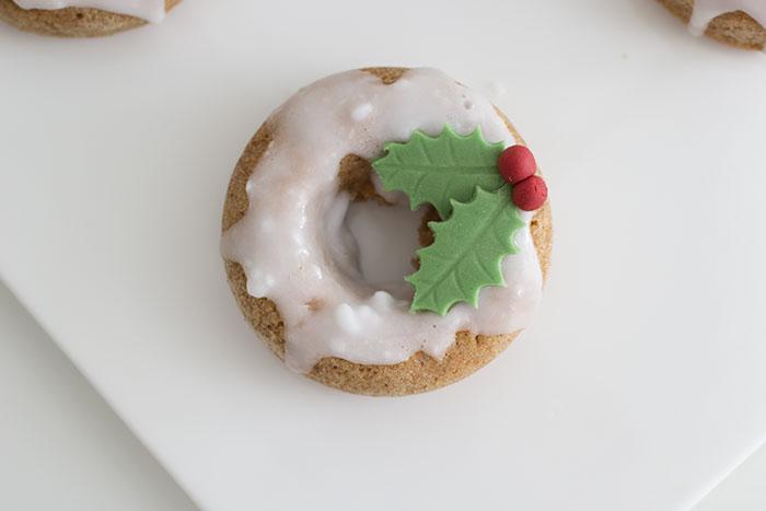 Festive wreath dougnuts for Christmas