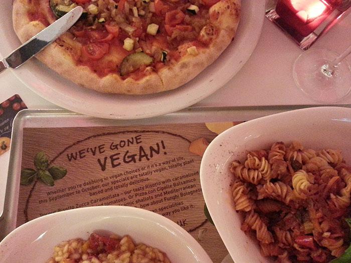 Vegan menu at Vapiano