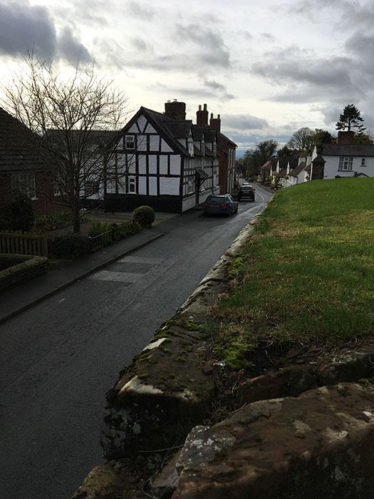 Street in Malpas with a Tudor house