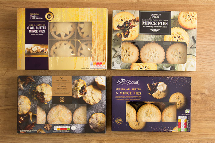 Best Luxury Mince Pies, boxes of pies from Sainsbury's, CO-OP, Tesco, and ASDA