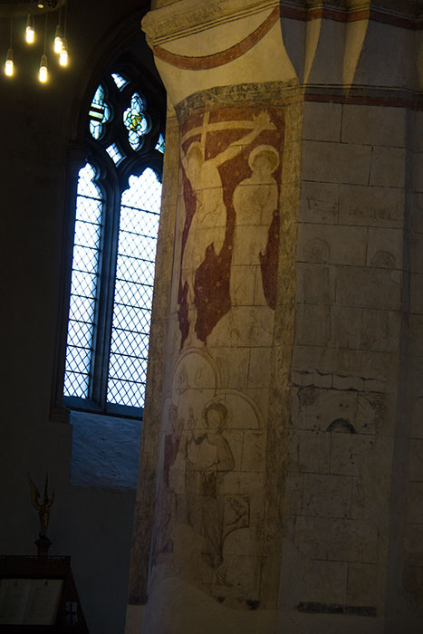 St Albans Cathedral. Painted walls