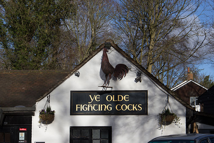 Ye Olde Fighting Cocks sign